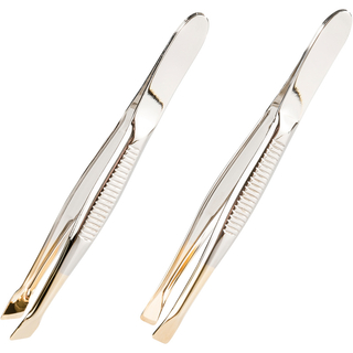 remos tweezers nickel-plated with gold tip